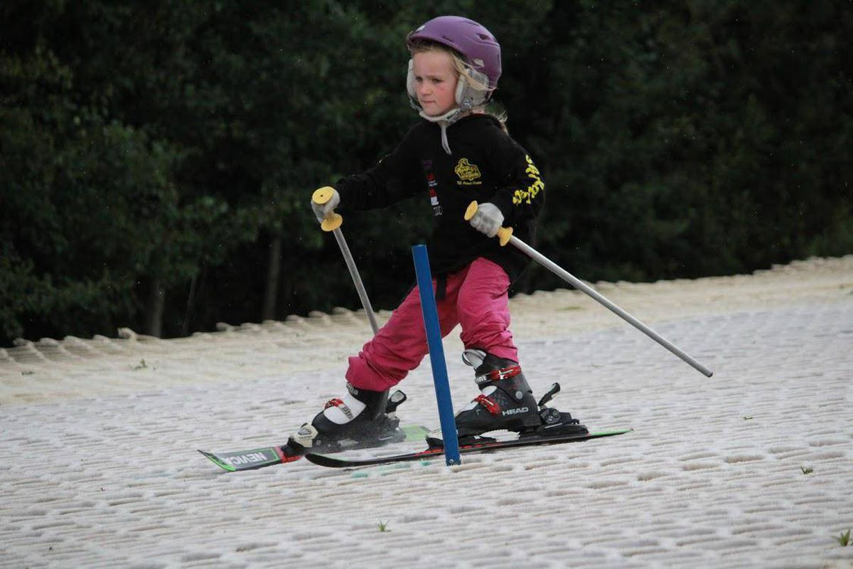 Five-year-old Stafford Prep pupil Martha Mincher-Lockett is put through her paces by national ski coaches