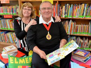 Walsall Mayor Paul Bott opens the new Moxley book exchange with wife Councillor Chris Bott