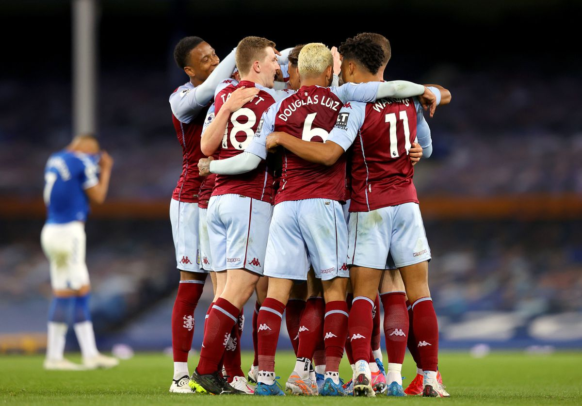 Aston Villa's Anwar El Ghazi is mobbed by teammates after scoring their side's second goal