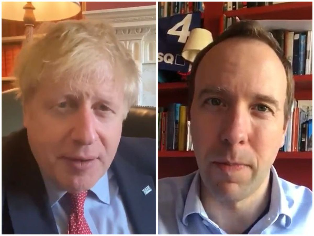 Prime Minister Boris Johnson, and right, Health Secretary Matt Hancock, both revealed in videos today that they have tested positive for Covid-19