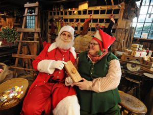 Inside the Santa and Elves Workshop at The Saw Mill during the Victorian Christmas event at Blists Hill Victorian Town, Telford