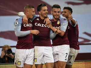 """Aston Villa's Jack Grealish celebrates scoring his side's sixth goal of the game during the Premier League match at Villa Park, Birmingham. PA Photo. Picture date: Sunday October 4, 2020. See PA story SOCCER Villa. Photo credit should read: Peter Powell/NMC Pool/PA Wire. RESTRICTIONS: EDITORIAL USE ONLY No use with unauthorised audio, video, data, fixture lists, club/league logos or """"live"""" services. Online in-match use limited to 120 images, no video emulation. No use in betting, games or single club/league/player publications."""