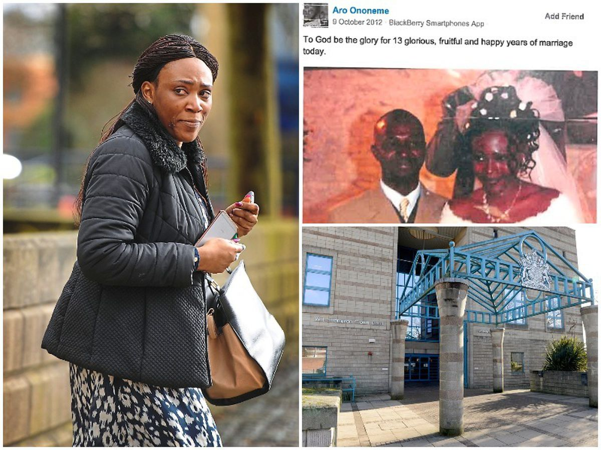 Left, Olamide Ononeme, and right, the Facebook post by Aruoriwo that aided the DWP's case, and Wolverhampton Crown Court where the case was heard