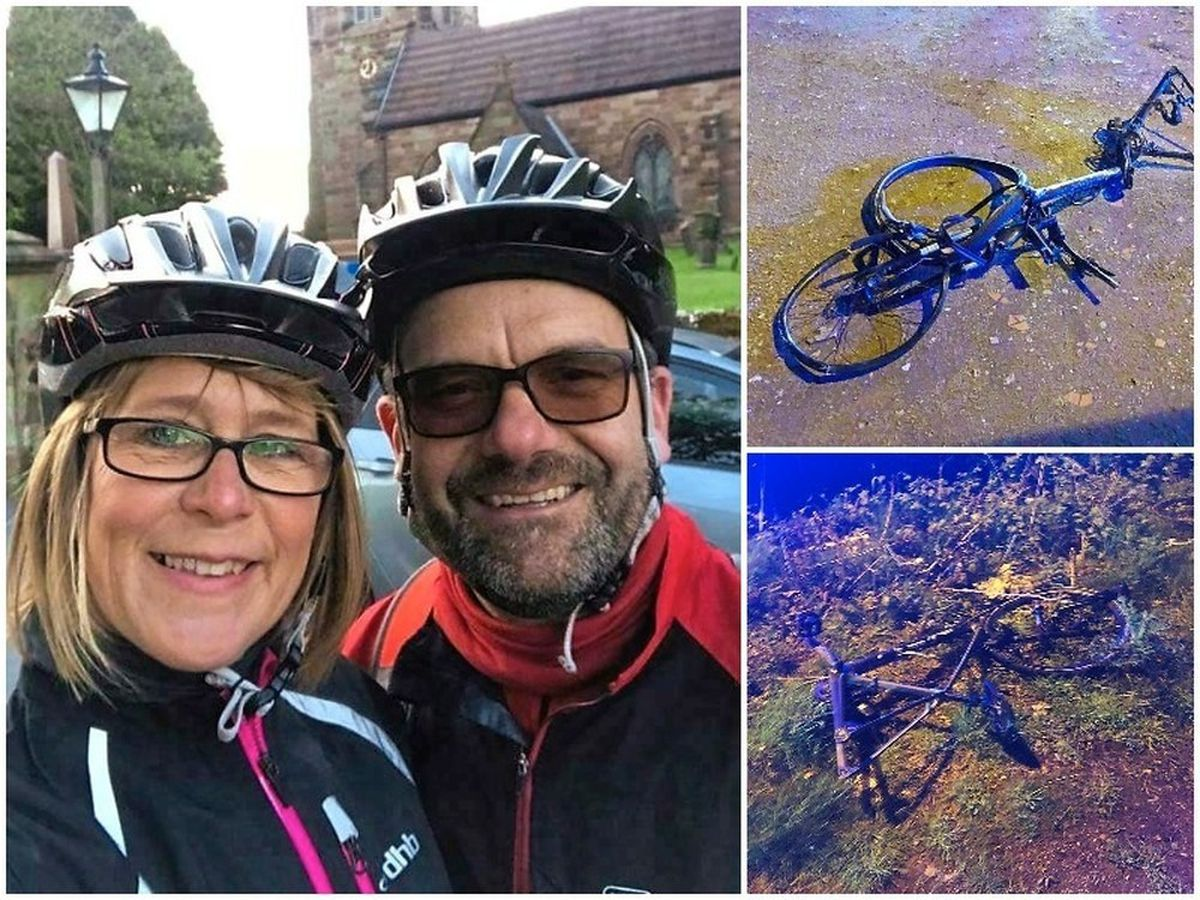 Gaynor Woods and Rupert Hannibal and right, the damaged bikes after the crash. Pictures: @Wton_fire