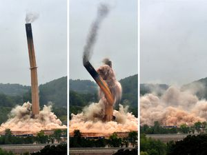 The demolition of the chimney at the Ironbridge Power Station