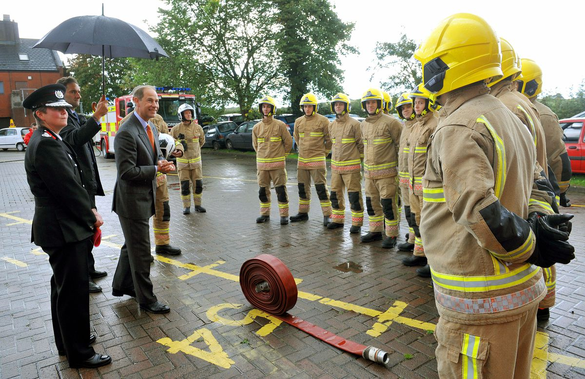 Prince Edward, Earl of Wessex, pictured during his visit to Staffordshire Fire and Rescue Service Headquarters, Pirehill, Stone. Talking to the cadets