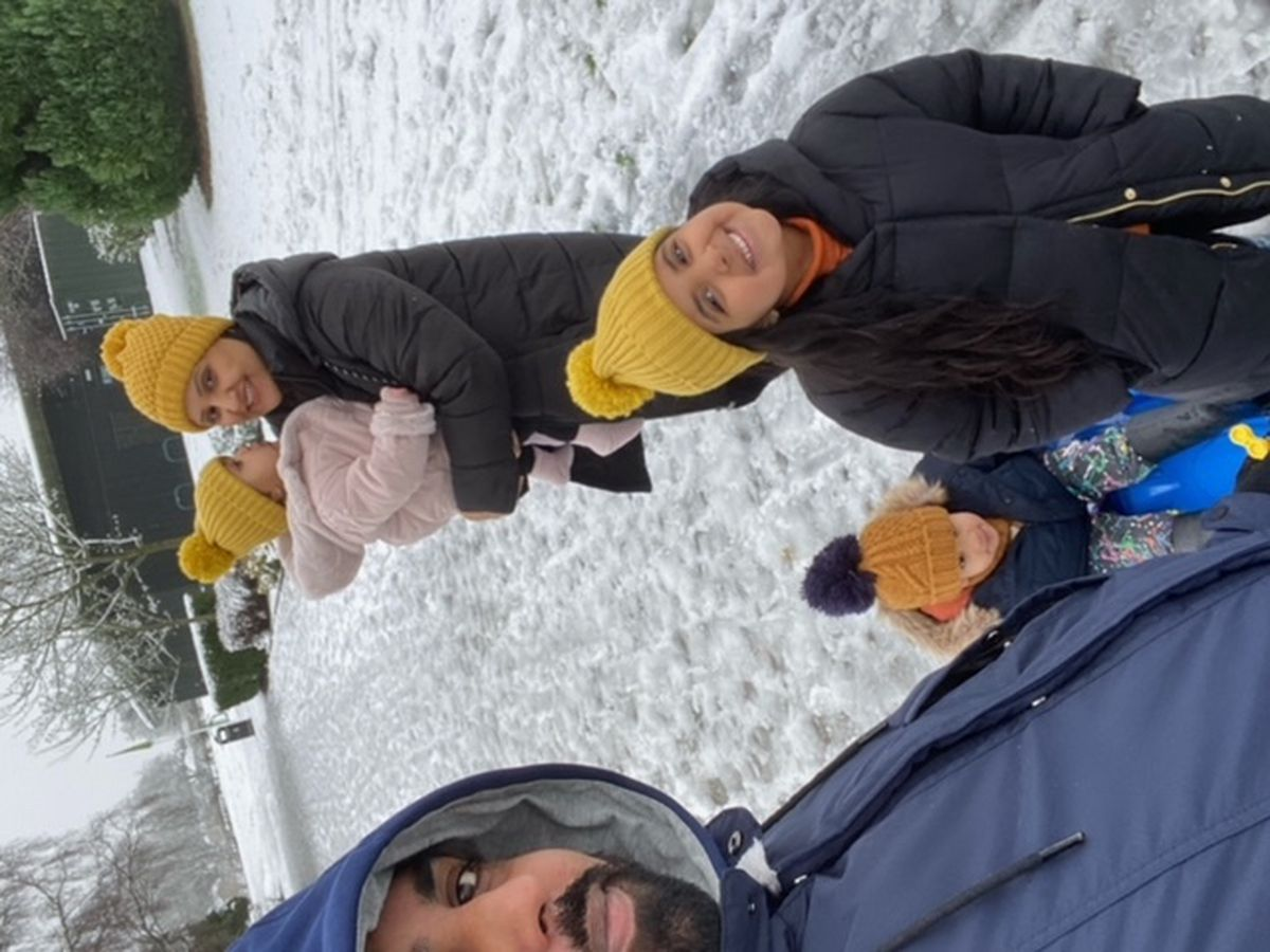 Parminder and her family enjoying the snow in Bantock Park, Wolverhampton