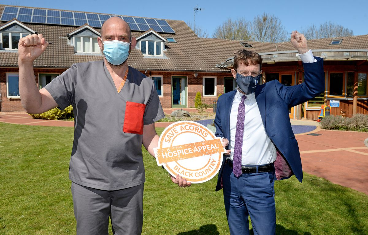 WALSALL COPYRIGHT EXPRESS&STAR TIM THURSFIELD 22/04/21.Event to celebrate Acorns Hospice, Walsall, being saved from closure..Chief exec Toby Porter and Andy Street celebrate..
