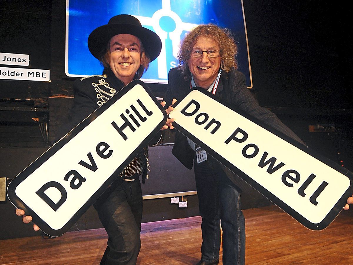 Slade stars Dave Hill and Don Powell pictured being inducted into the Wall of Fame at Wolverhampton's Civic Hall in 2009