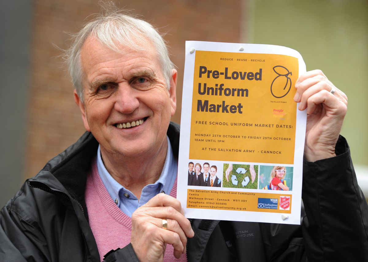 Supporting the pre-loved uniform market, Councillor Phil Hewitt, at Cannock Library