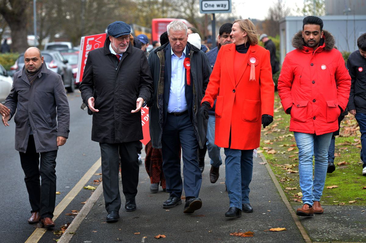 Labour Party chairman Ian Lavery on the campaign trail with former Walsall Council leader Sean Coughlan (2nd left) and Gill Ogilvie (2nd right)