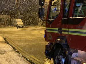 Snow blanketed the Black Country this morning. Photo: Willenhall Fire Station