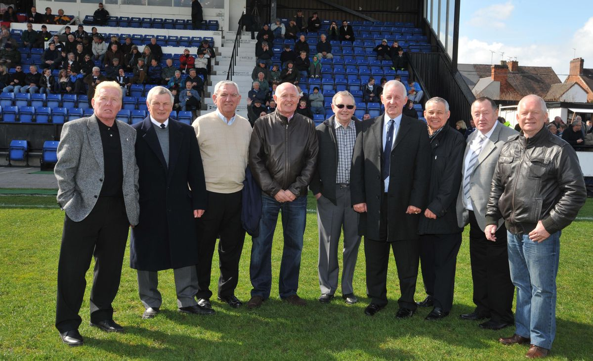 Stuart Chapman (second in on the right) with members of the 1972 FA Trophy team