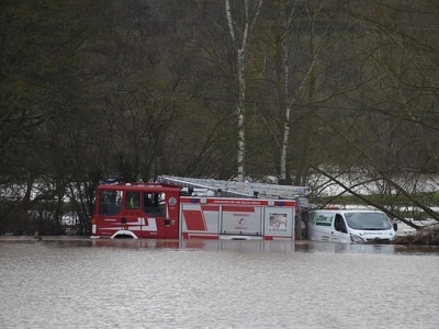 Fire engine among vehicles trapped in Worcestershire floodwaters