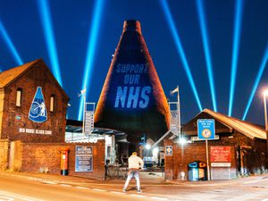 The Red House Glass Cone in Stourbridge lit up blue for the NHS on Thursday. Photo: Brandon Holloway