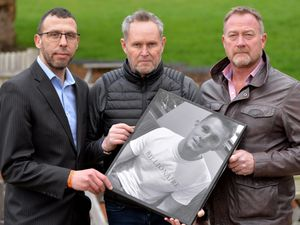 Ryan Passey's father Adrian, centre, with friend Jason Connon, left, and private investigator Russ Winfield