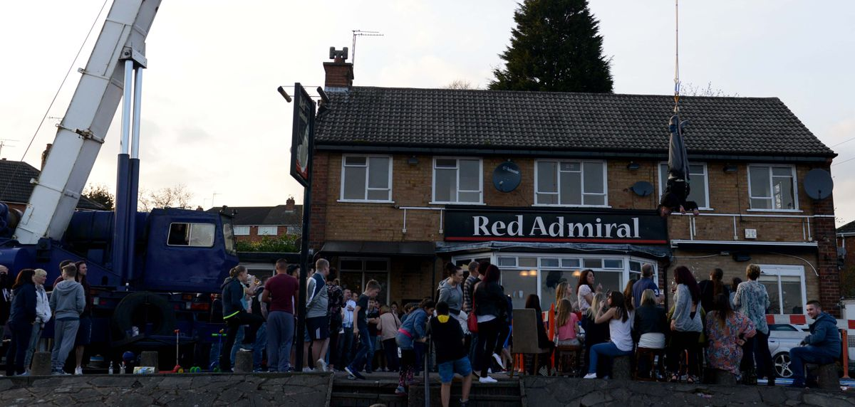 A charity bungee jump event held at the pub back in 2015