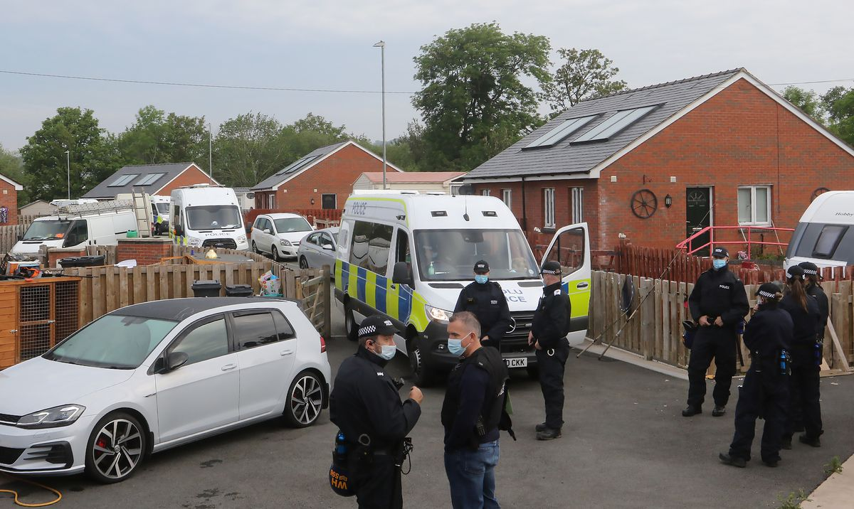 More than 80 police officers took part in the operation in Welshpool. Photo: Phil Blagg