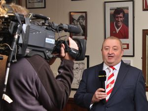 Stourbridge Chairman Andy Pountney being interviewedlon Football Focus during the live broadcast from the Glassboys bar at Stourbridge ahead of the FA Cup Second Round match between Stourbridge and Eastleigh on 5 December 2015. Photo by Will Kilpatrick..