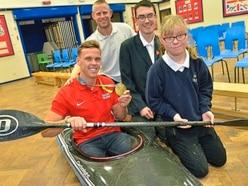 Olympic gold medal-winning canoeist Joe Clarke paddles into Staffordshire classroom