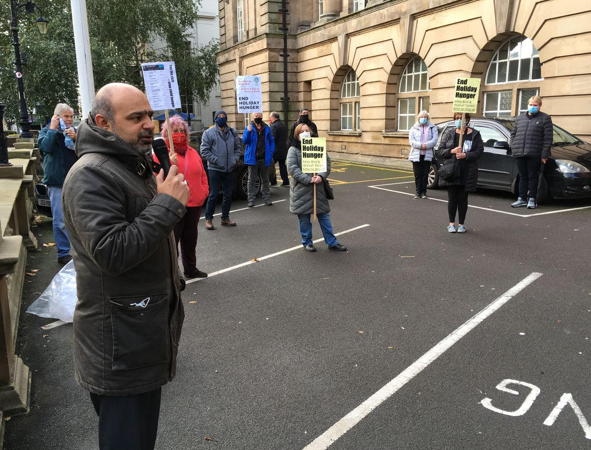 Protest over free school meals outside Walsall Council House. Photo: Gurdip Thandi
