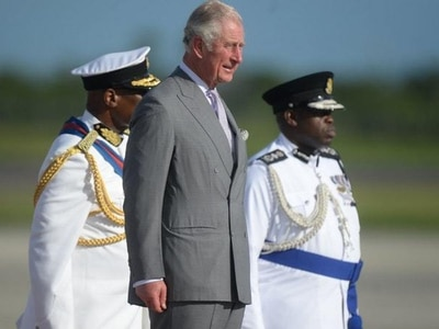 Charles arrives in Antigua on visit to hurricane-hit Caribbean islands