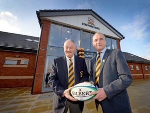 STAFFORD COPYRIGHT EXPRESS&STAR TIM THURSFIELD 22/11/19.Coopers Park, home of the brand new Stafford Rugby Club, Blackberry Lane, Stafford..Pictured are president David Ainge and chairman Tim Woolman..