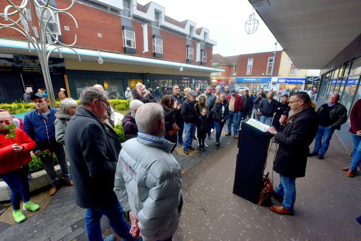 The plaque unveiling ceremony in Stourbridge