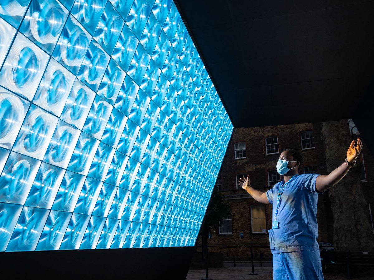 Trauma and orthopaedic surgeon Frank Acquaah looks at the Tunnel of Light at Guy's and St Thomas' Hospital in London