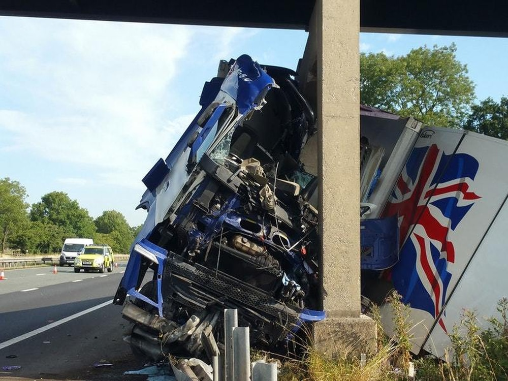 Lorry Crash On M6 Cracks Concrete Bridge Support And