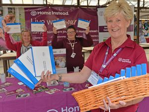 DUDLEY COPYRIGHT TIM STURGESS EXPRESS AND STAR...... 13/07/2021  Home Instead hand out free covid tests on Dudley market. Pictured, front is Susan Love with left, Susan Billingham and Becky Brittle..
