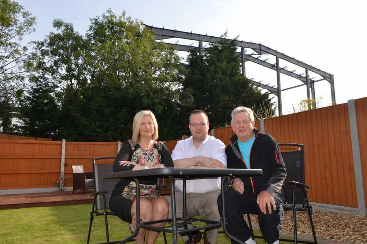 Councillor Natalie Neale, Mike Wood MP, and resident Malcolm Pearson