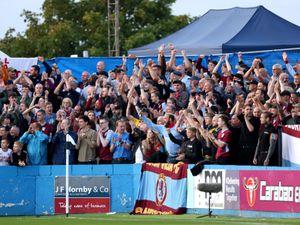 Aston Villa fans celebrate after Cameron Archer scores