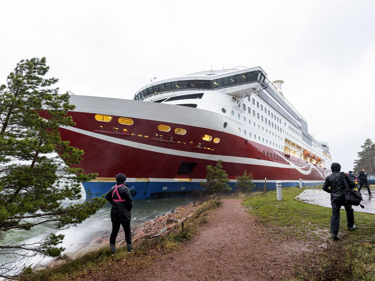 Cruise ship Viking Grace, run aground with passengers on board, south of Mariehamn, Finland