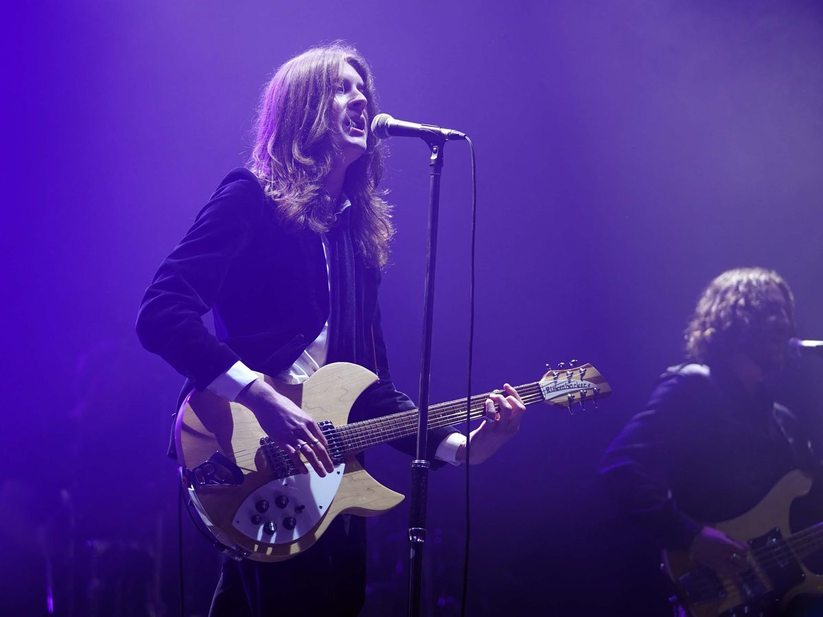 The Blossoms performing on stage at a music festival in Sefton Park