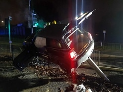 Car flies thorough air in Dudley crash