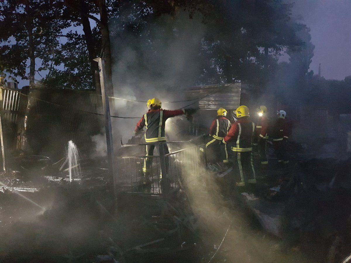 Firefighters tackle the blaze at Pelsall Villa