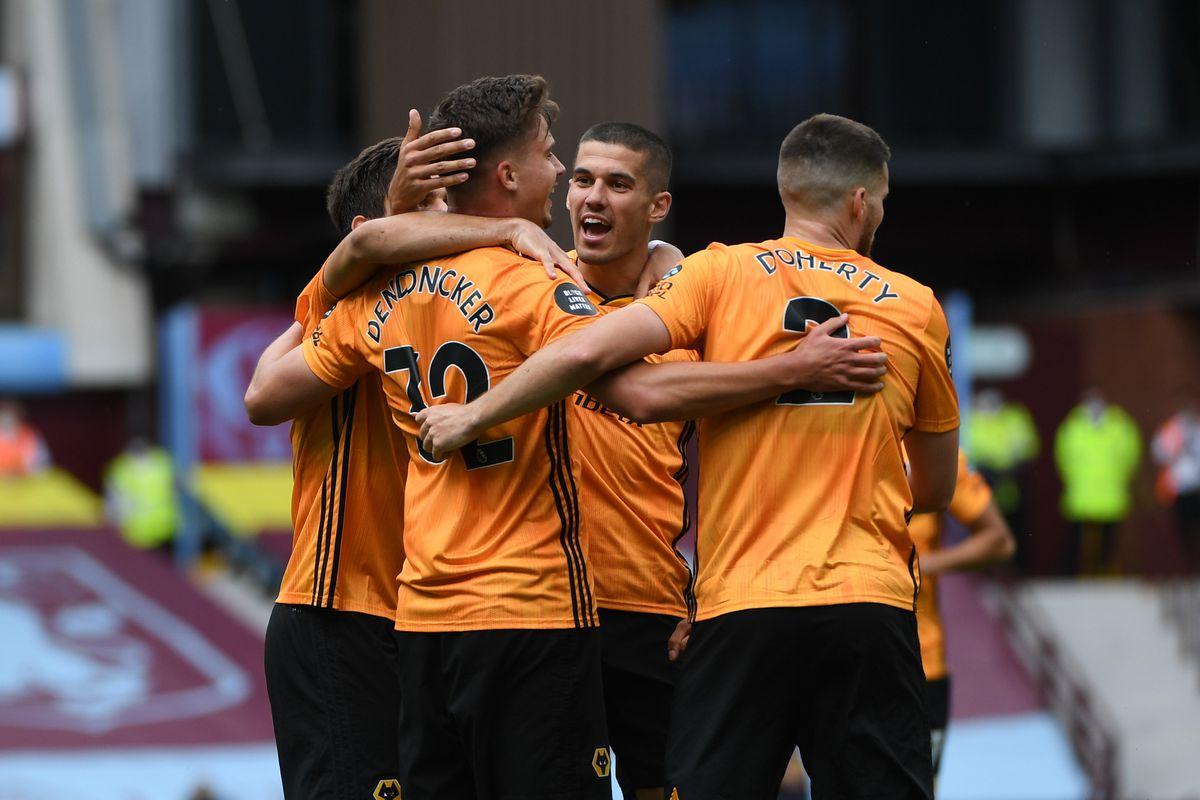 Leander Dendoncker of Wolverhampton Wanderers celebrates after scoring a goal to make it 0-1. (AMA/Sam Bagnall)