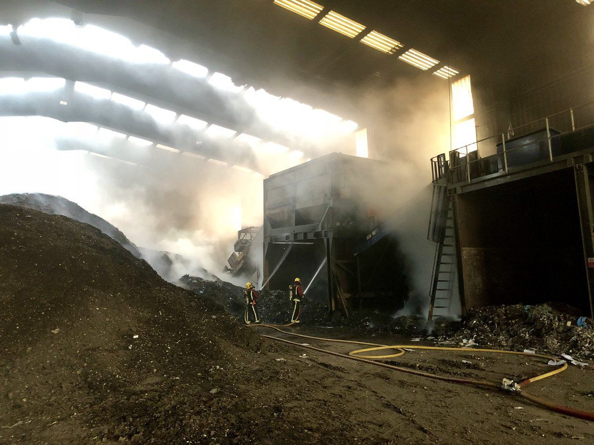 Pictures from the scene of a large fire at a waste treatment plant in West Bromwich. Pictures: West Midlands Fire Service