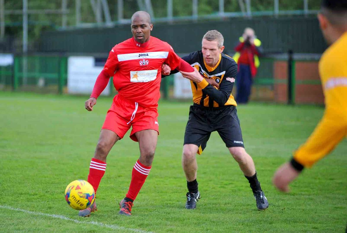 WALSALL COPYRIGHT EXPRESS AND STAR STEVE LEATH 28/04/2019..Pics at Rushall Olympic FC where there legends played Walsall FC legends, in a tribute match in honour of Ernie Lee Allen-Bryan who passed away at 5 months.  Walsall legends: Darren Byfield  V:  G Beckett..