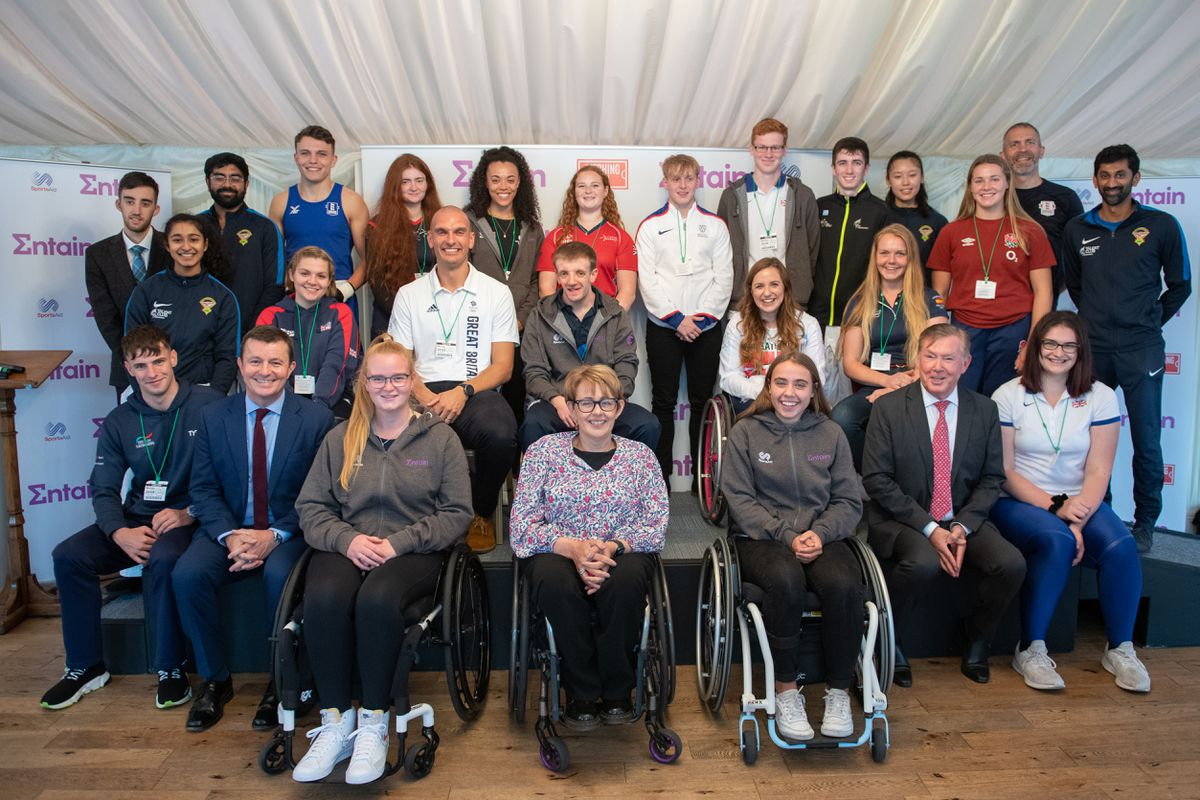 Swimmer Jacob Davies (front, far left) with Dame Tanni Grey-Thompson, and other attendees at the House of Lords