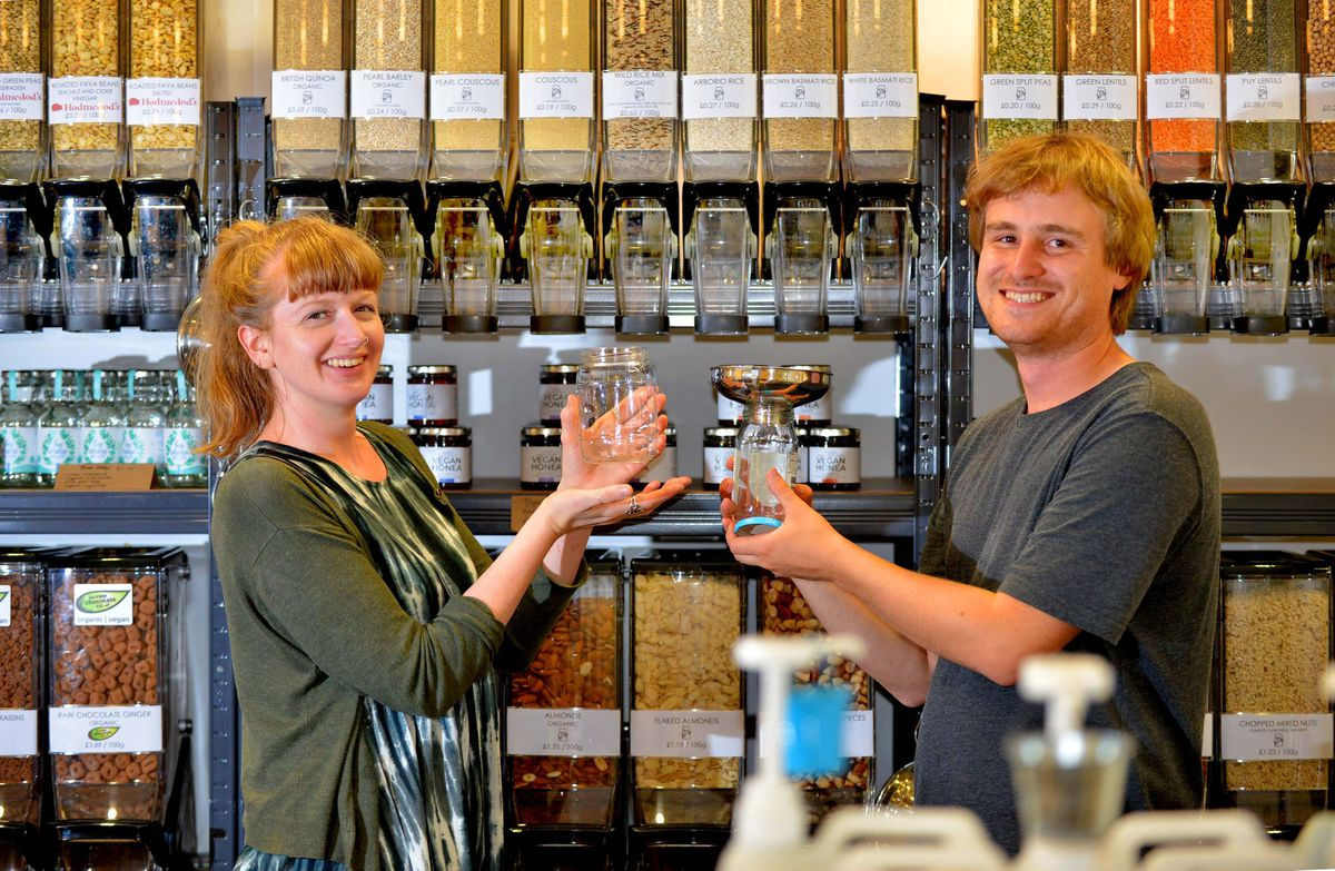 Shop owners Sam Winterflood and Lillie Lockwood are encouraging people to live plastic-free lives