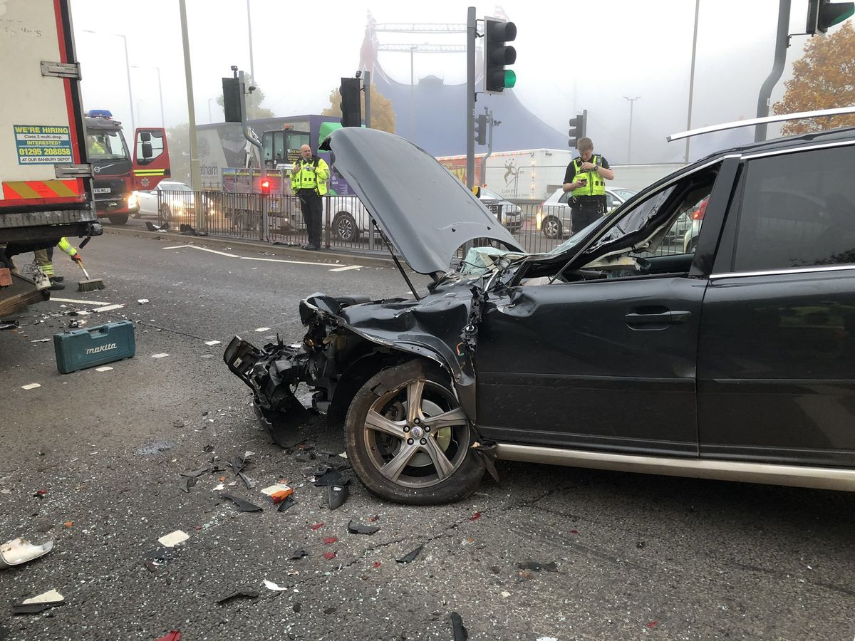 The Volvo after the crash in Dudley. Pic: Dudley Fire Station