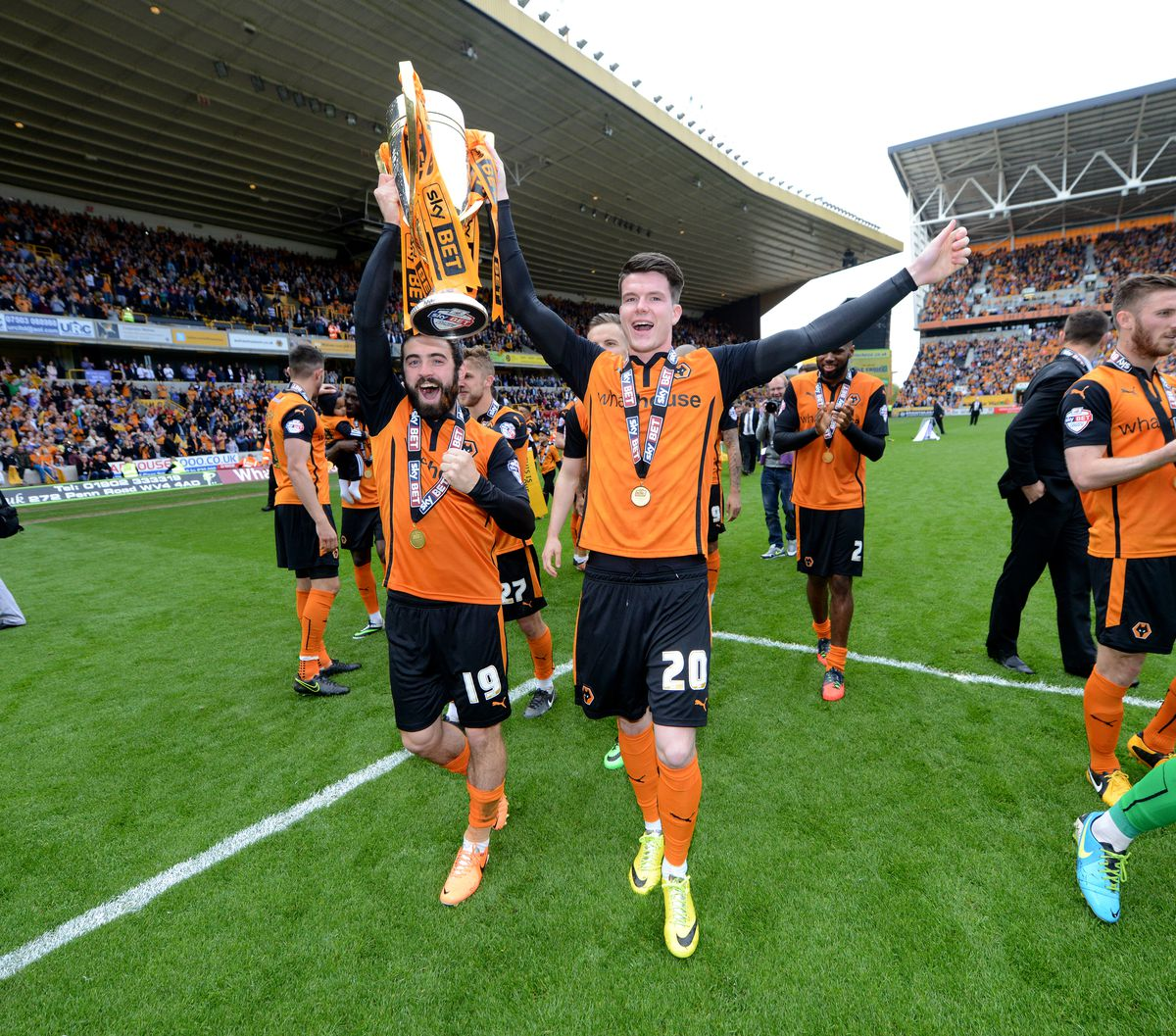 Price and Liam McAlinden with the League One trophy