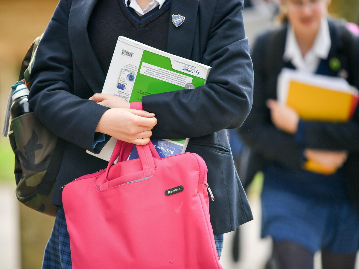 Pupils carry bags and books
