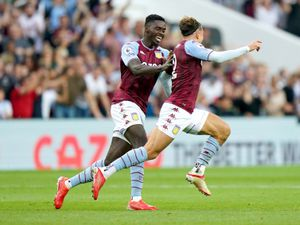 """Aston Villa's Matty Cash (right) celebrates scoring their side's first goal of the game during the Premier League match at Villa Park, Birmingham. Picture date: Saturday September 18, 2021. PA Photo. See PA story SOCCER Villa. Photo credit should read: Tim Goode/PA Wire.   RESTRICTIONS:  EDITORIAL USE ONLY No use with unauthorised audio, video, data, fixture lists, club/league logos or """"live"""" services. Online in-match use limited to 120 images, no video emulation. No use in betting, games or single club/league/player publications."""