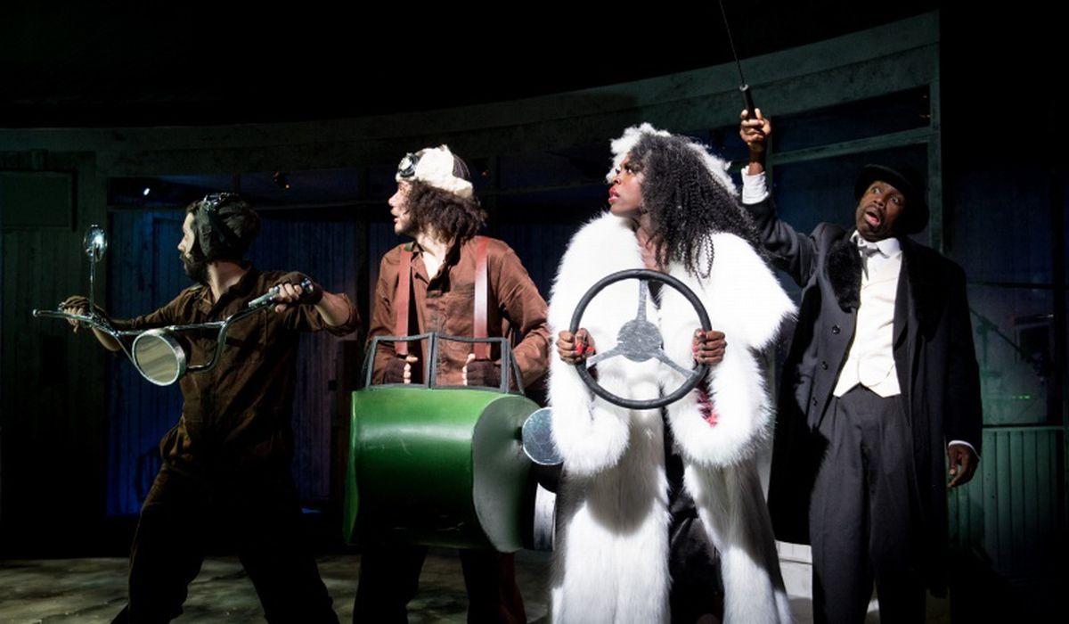 Luke Murphy as Saul, Lewis Griffin as Jasper, Gloria Onitiri as Cruella de Vil and Jo Servi as Horace De Vil