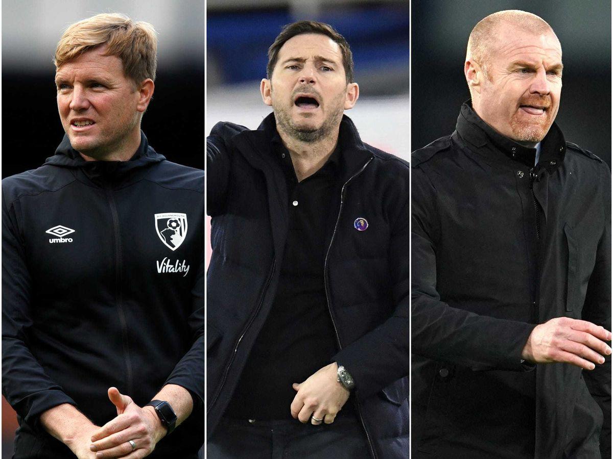 Eddie Howe, Frank Lampard and Sean Dyche