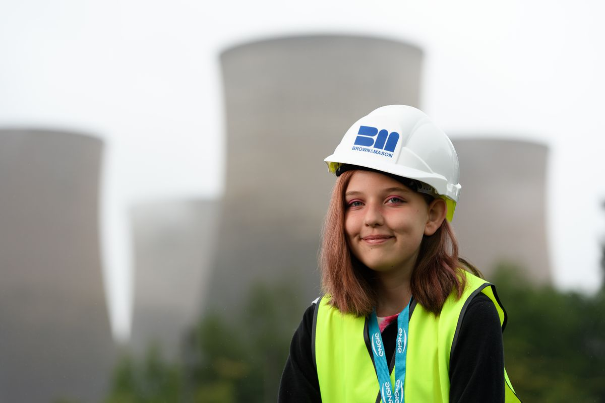 Lilly Patterson, aged 11 and from Rugeley, pushed the button which triggered the demolition. Photo: ENGIE
