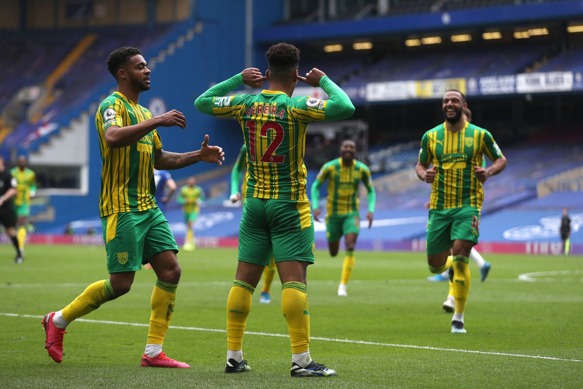Matheus Pereira of West Bromwich Albion celebrates after he scores a goal to make it 1-2 with Darnell Furlong of West Bromwich Albion and team mates. (AMA)